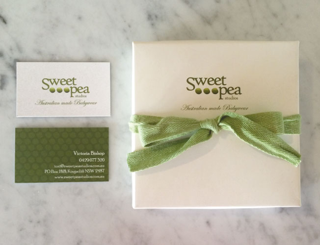 Logo, Business card and Packaging Design for babywear label Sweet Pea Studios